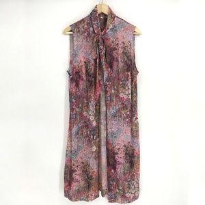 Vintage Floral Pink Duster Vest